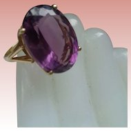 Three-Carat Amethyst 14K Gold Ring Size 7 1/2