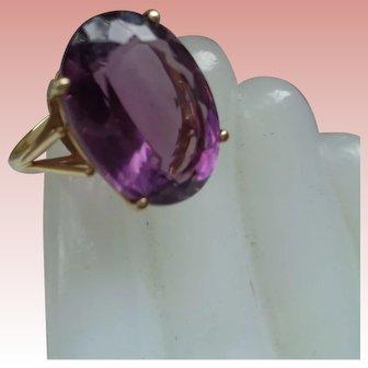 Three-Carat Amethyst 14K Gold Ring Size 7 1/2