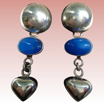 Vintage Sterling Silver and Lapis Earrings with Hearts Taxco Mexico