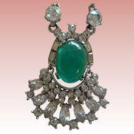 Cabachon Faux Emerald and Rhinestone Necklace 1930
