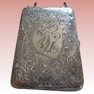 Etched Sterling Silver Vanity Case with Chain early 1900