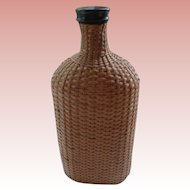Vintage English Wicker and Glass Bottle 1900's