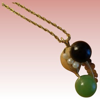 Artisan Made 14K Gold Pendant with Semi-Precious Stones and 14K Chain