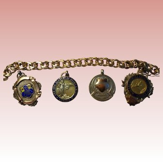 English Gold & Silver Fob/Charms and Vintage 14K Gold Charm Bracelet 1950's