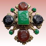 Vintage Designer  Intaglio Multi-Stone Brooch/Pin 1930