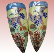 Vintage Japanese Moriage Wall Pockets in Lustre-ware 1930