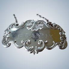 Beautiful Sterling Silver Wine Label for BRANDY