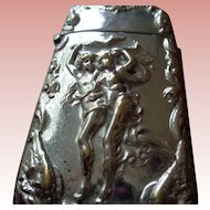 Vintage Match Safe with Classical Figures in Silver Plate