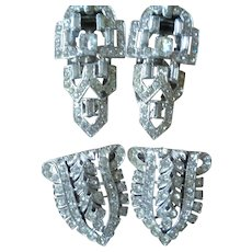 Two Pairs Art Deco Rhinestone Clips 1930