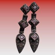 Vintage Marcasite Earrings in Sterling with Amethysts