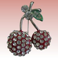 Cheerful Rhinestone/Enamel Cherry Pin 1930