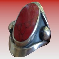 SALE 50% OFF Sterling Artisan Ring, Taxco, with Large Jasper Stone Size 7 1/2-8
