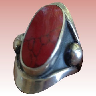 Sterling Artisan Ring, Taxco, with Large Jasper Stone Size 7 1/2-8