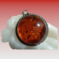 SALE 50% OFF Genuine Amber and Heavy Sterling Silver Pendant