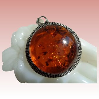 Genuine Amber and Heavy Sterling Silver Pendant