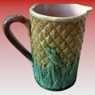 SALE 50% OFF Vintage Majolica Pitcher in Pineapple Pattern.1950