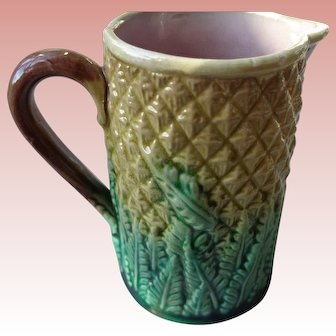 Vintage Majolica Pitcher in Pineapple Pattern.1950
