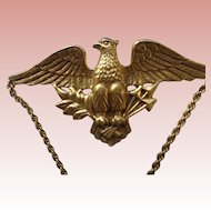 American Eagle Brooch/Pin with Chain in Brass