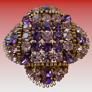 Magnificent Amethyst Rhinestone Pin 1930 Vintage