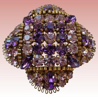 Magnificent Amethyst Rhinestone Pin 1930 Vintage