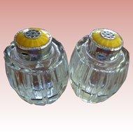 Pair Guilloche Enamel Salt & Pepper Shakers Denmark