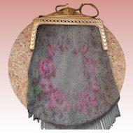 Vintage Hand-Painted Mesh Handbag Whiting & Davis 1930