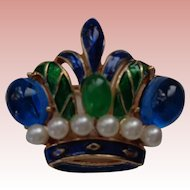 Lovely Trifari Enamel and Pearl Crown Pin/Brooch
