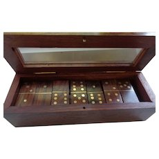 Beautiful Mahogany and Brass Domino Set in Fitted Case