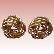 Large 14K Gold Love Knot Earrings Vintage (1970)