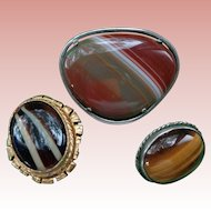 Three Banded Agate Pin/Brooches with Sterling