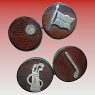 Golf Enthusiasts Cuff Links with Golf Symbols in Sterling UNISEX
