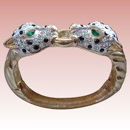 Panther Bangle Bracelet with Rhinestones