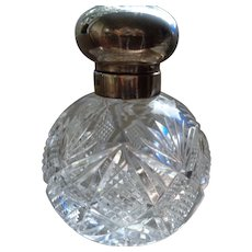 Vintage English Cut Crystal Glass Perfume Bottle with Sterling Top 1996