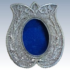 Sterling Silver Filgreed Frame with Stand