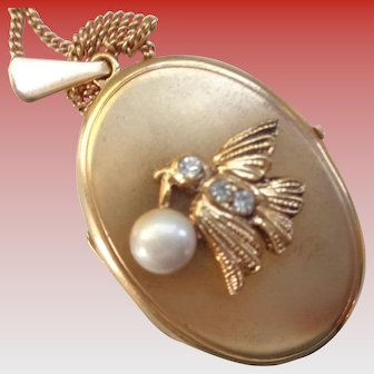 Gold Two-Photo Locket with Bird with Pearl