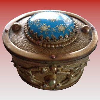 Antique French Gilt Bronze Box w/ Enamel Top 1860-1870