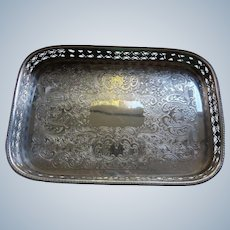 English Heavy Silver Plated Gallery Serving Tray