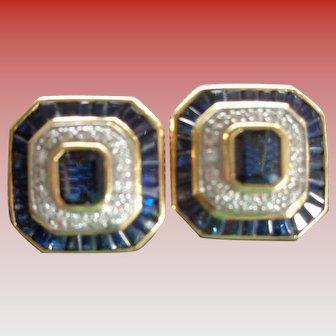 Art Deco-Style Sapphire and Diamond 18K Gold Earrings