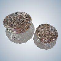 FINAL SALE  S Kirk & Sons Sterling Silver/Crystal Dresser Jars