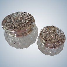 S Kirk & Sons Sterling Silver/Crystal Dresser Jars