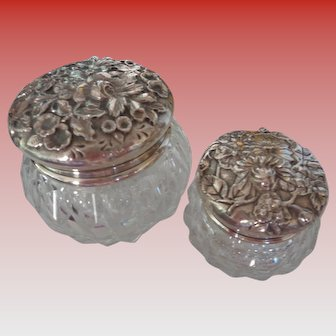 S Kirk & Sons Sterling Silver/Crystal Dresser Jars