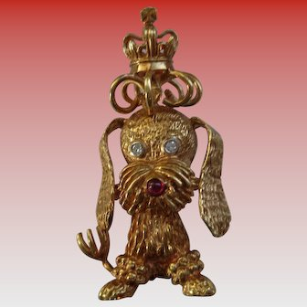 Adorable 18K Gold Dog Brooch/Pin with Ruby and Diamonds