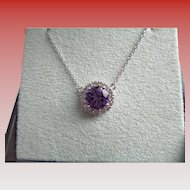 Lovely Faceted Amethyst and Sterling Pendant with Chain