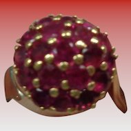 Genuine Ruby Dome Ring 14K Size 7