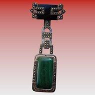 Art Deco Brooch w/ Onyx, Malachite, Sterling, Marcasites 1930