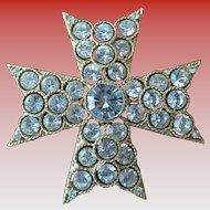 Designer Rhinestone Brooch Malta Cross Style by Lisner
