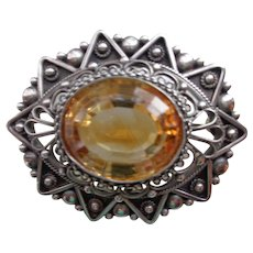 Genuine Faceted Citrine/Sterling Silver Brooch