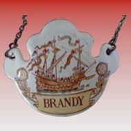 Enamel Brandy Wine Label English Clipper Ship