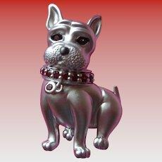 Adorable Sterling Puppy Dog Brooch/Pendant w/ Garnet Collar