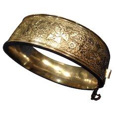 Sterling Silver Flower-Etched Bangle Bracelet